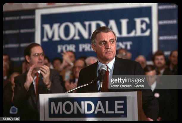 Former VicePresident and 1984 Ddemocratic Party presidential candidate Walter Mondale gives a speech during his campaign Minesota USA | Location...