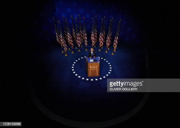 Former vice-president and Democratic presidential nominee Joe Biden accepts the Democratic Party nomination for US president during the last day of...