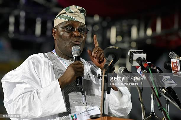 Former vicepresident and presidential aspirant of the opposition All Progressives Congress Atiku Abubakar speaks during the presidential primary of...