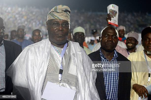 Former vicepresident and presidential aspirant of the opposition All Progressives Congress Atiku Abubakar arrives to attend the presidential primary...