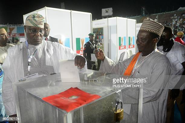 Former vicepresident and presidential aspirant of the opposition All Progressives Congress Atiku Abubakar casts his vote during the presidential...