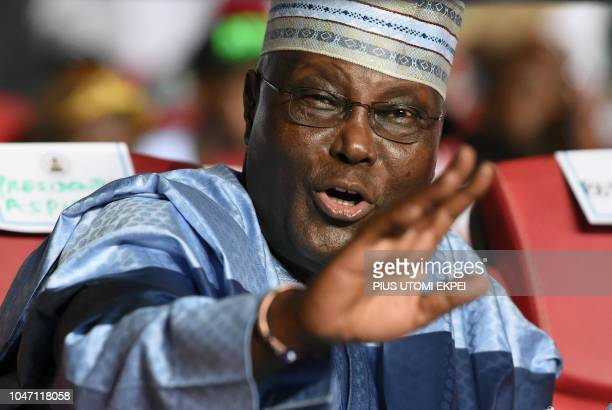 Former vicePresident Atiku Abubakar speaks during the opposition People's Democratic Party 's national convention in Port Harcourt Rivers State on...