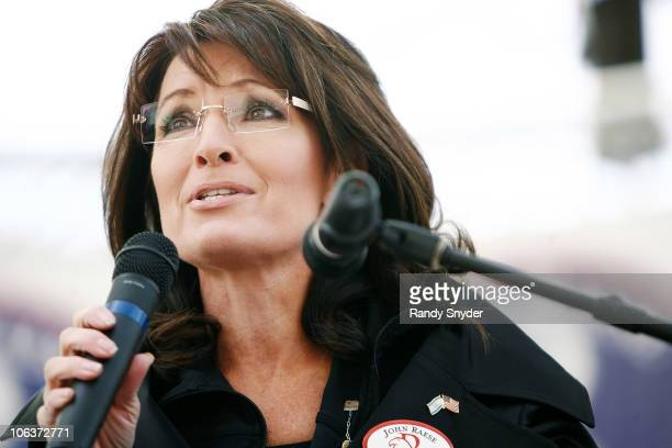 Former vicepresidential candidate Sarah Palin speaks to supporters of Republican John Raese during a rally for his US Senate campaign October 30 2010...
