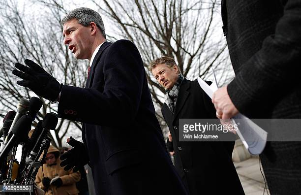 Former Virginia Attorney General Ken Cuccinelli and U.S. Sen. Rand Paul speak at a press conference in front of U.S. District Court to announce the...