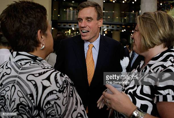 Former Virginia Gov and Democratic candidate for US Senate Mark Warner speaks with supporters during a fundraising event at the Science Museum of...