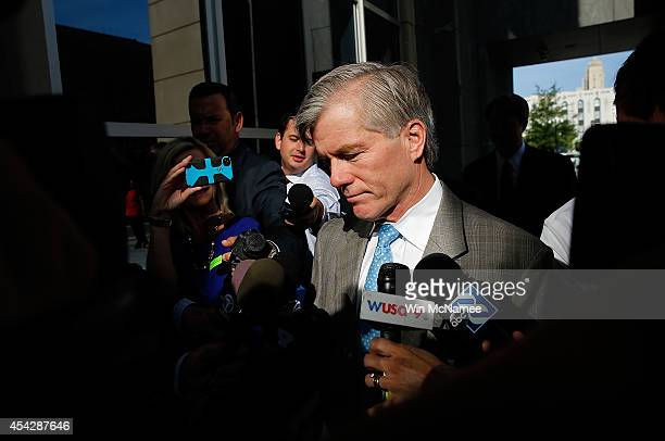 Former Virginia Governor Bob McDonnell arrives for his trial at US District Court August 28 2014 in Richmond Virginia McDonnell and his wife Maureen...