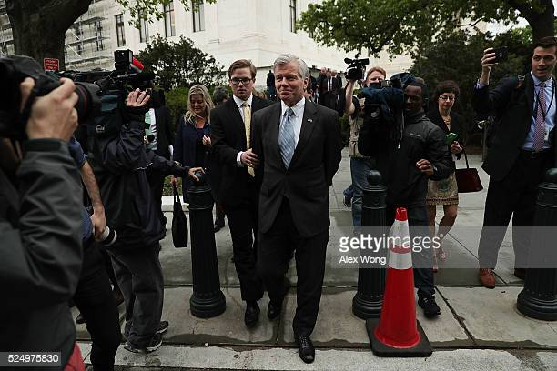 Former Virginia Governor Robert McDonnell leaves the US Supreme Court April 27 2016 in Washington DC The Supreme Court heard the corruption appeal...