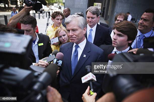 Former Virginia Governor Robert McDonnell leaves US District Court for the Eastern District of Virginia with his son Bobby 2nd after began their...