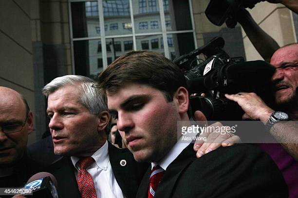 Former Virginia Governor Robert McDonnell leaves US District Court for the Eastern District of Virginia with his son Bobby after he was found guilty...