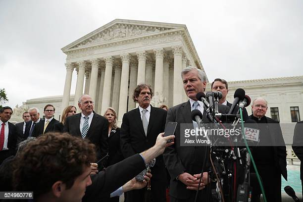 Former Virginia Governor Robert McDonnell speaks to members of the media in front of the US Supreme Court April 27 2016 in Washington DC The Supreme...