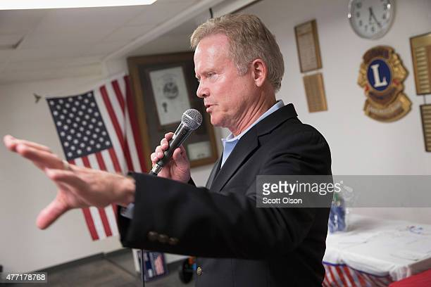 Former Virginia Senator Jim Webb speaks at the Urbandale Democrats Flag Day Celebration on June 14 2015 in Urbandale Iowa Webb is on a threeday tour...