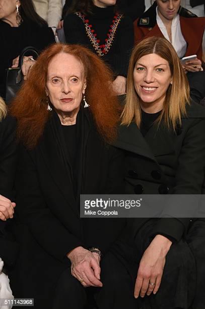 Former Vogue Creative Director Grace Coddington and Vogue's Fashion Market/Accessories Director Virginia Smith attend the Ralph Lauren Fall 2016...