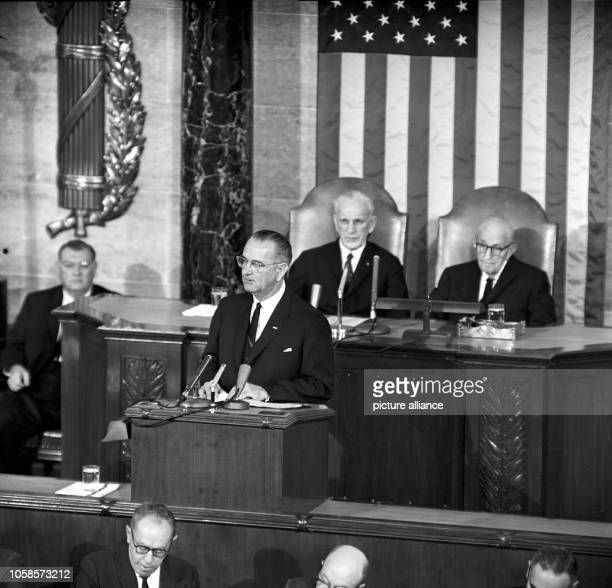 Former VP Lyndon B Johnson gives his first speach to congress on 27 November 1963 after succeeding John F Kennedy as President of the United States...