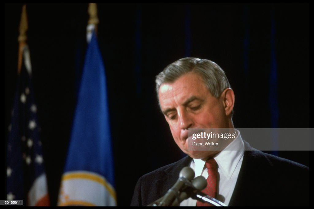 Former VP Walter Mondale grimly acknowledging defeat, speaking day after losing pres. election to Ronald Reagan.