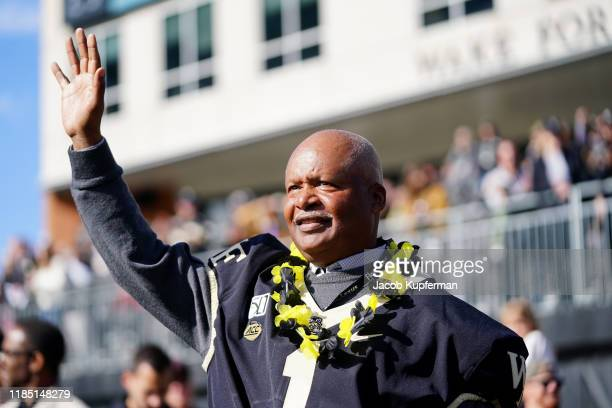 Former Wake Forest Demon Deacons coach Jim Caldwell before their game against the North Carolina State Wolfpack at BB&T Field on November 02, 2019 in...
