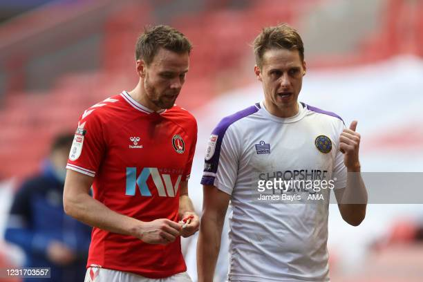 Former Wales international team mates chat David Edwards of Shrewsbury Town and Chris Gunter of Charlton Athletic during the Sky Bet League One match...