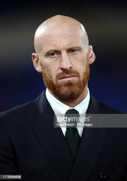 Former Wales player James Collins during the UEFA Euro 2020 qualifying match at The Cardiff City Stadium, Cardiff.