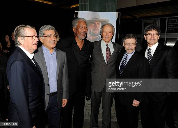 Former Warner Bros chairman and CEO Bob Daly former Warner Bros Chairman and CEO Terry Semel actor Morgan Freeman actor/director Clint Eastwood...