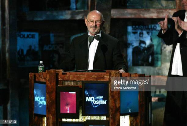 Former Warner Bros Records executive Mo Ostin speaks at the 18th Rock and Roll Hall of Fame induction ceremony at the Waldorf-Astoria Hotel March 10,...