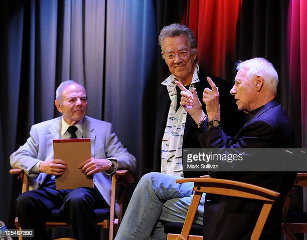 Former Warner Bros Records President Joe Smith musician Ray Manzarek of The Doors and Elektra Records founder Jac Holzman attend An Evening With Jac...