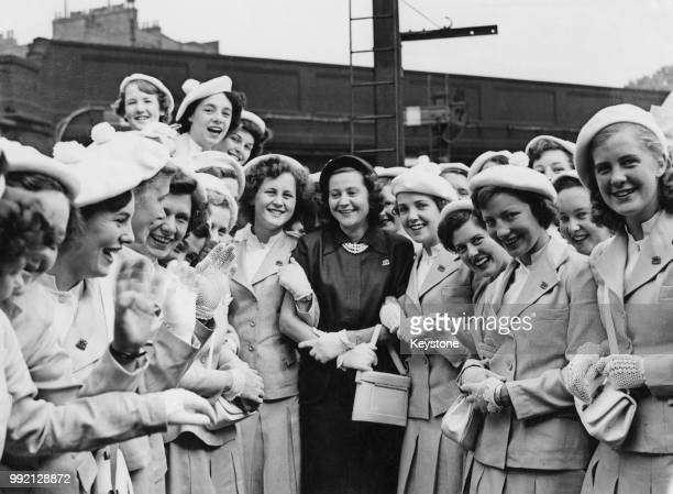Former wartime Allied intelligence officer Odette Churchill later Hallowes surrounded by young women circa 1947