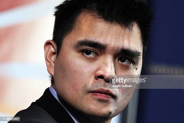 Former Washington Post and San Francisco Chronicle reporter Jose Antonio Vargas speaks at the Commonwealth Club of California on July 11 2011 in San...
