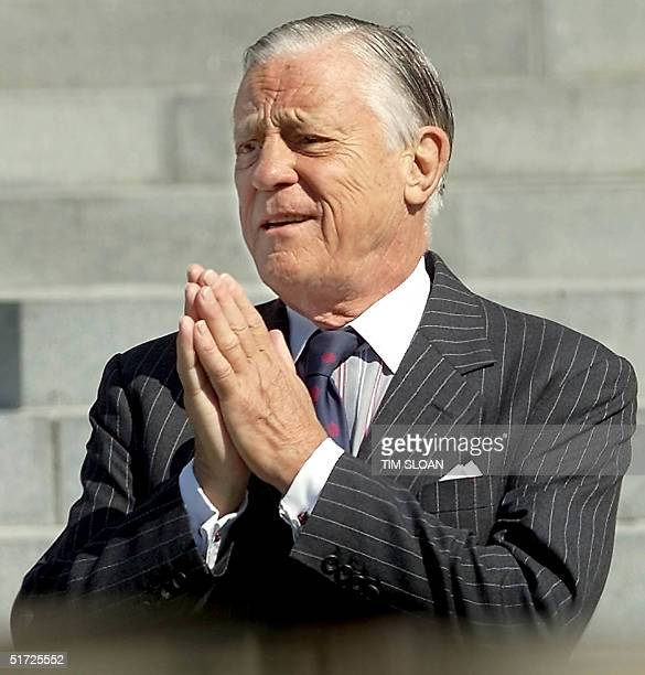 Former Washington Post Executive Editor Ben Bradlee arrives at the Washington National Cathedral to attend the funeral service for former chairman...
