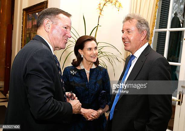 Former Washington Post publisher Donald Graham talks with Ambassador Kim Darroch and a guest at an Afternoon Tea hosted by the British Embassy to...
