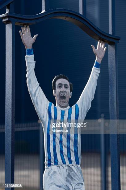 Former WBA centre forward immortalised on the Jeff Astle gates at the Birmingham Road End of the Hawthorns home of West Bromwich Albion FC on March...