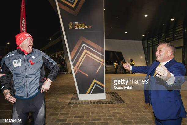 Former Welsh, and British and Irish Lions, rugby captain Gareth Thomas is surprised by his husband as he completes Day 7 of the Tour De Trophy...
