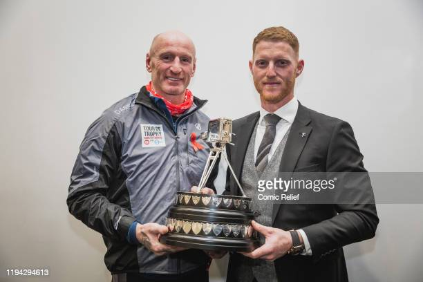 Former Welsh, and British and Irish Lions, rugby captain Gareth Thomas smiling with the recipient of the 2019 Sports Personality of the Year award,...