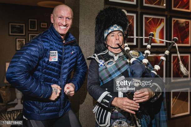 Former Welsh and British & Irish Lions rugby captain Gareth Thomas arrives in Scotland to a traditional welcome. Gareth dances along to the bagpipes...