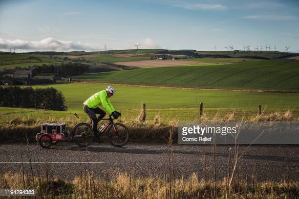 Former Welsh and British Lions rugby captain Gareth Thomas on the final day of the Tour De Trophy challenge in aid of Sport Relief. Cycling from...