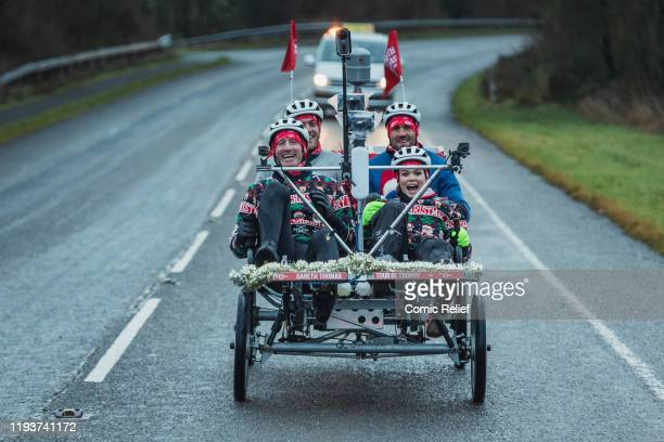 Former Welsh and British Lions rugby captain Gareth Thomas sets off on Day 5 of the Tour De Trophy challenge in aid of Sport Relief. Cycling from...