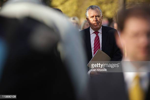 Former Welsh Secretary Peter Hain arrives to give interviews outside Parliament after Chancellor of the Exchequer George Osborne delivered his budget...