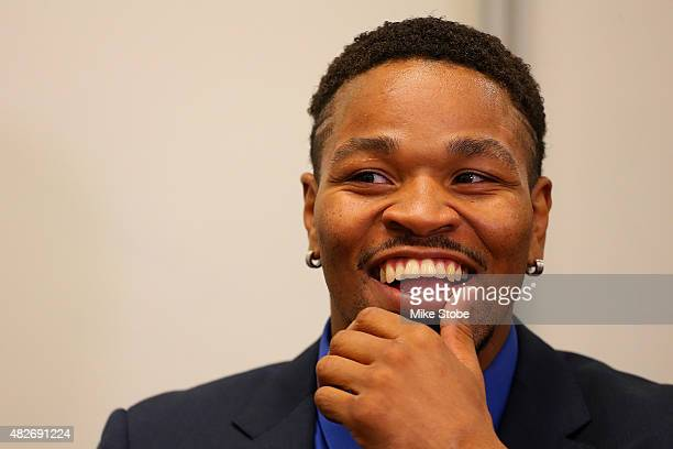 Former Welterweight World Champion Shawn Porter speaks to the media during a fight night media roundtable at Barclays Center on August 1 2015 in...