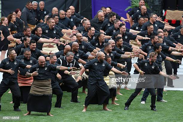 Former Wesley College studenrts perform a haka as Jonah's casket leaves the field at the Public Memorial for Jonah Lomu at Eden Park on November 30...
