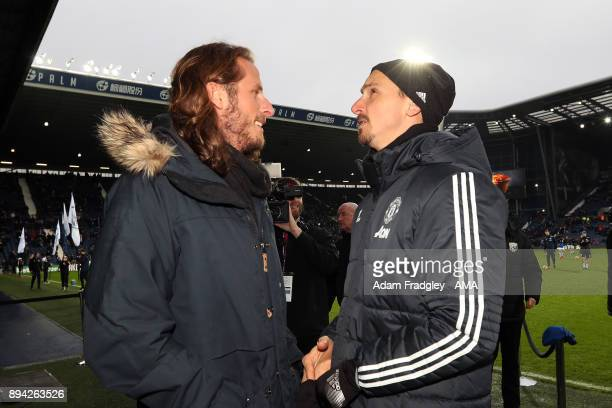Former West Bromwich Albion and Sweden International Joans Olsson with his international teammate Zlatan Ibrahimovic of Manchester United during the...