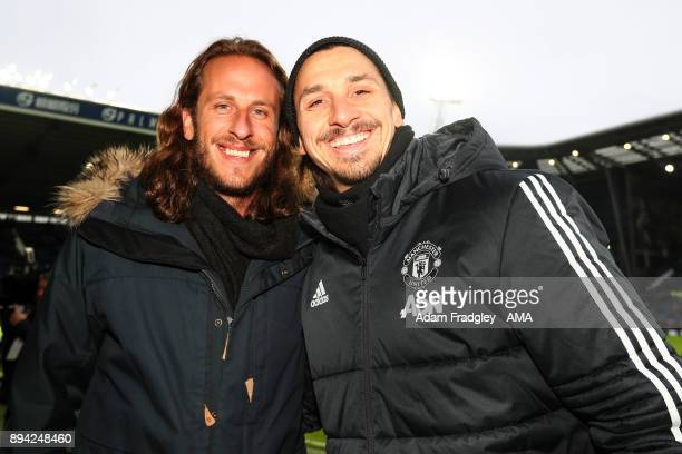 Former West Bromwich Albion player Jonas Olsson with Sweden international teammate Zlatan Ibrahimovic of Manchester United during the Premier League...