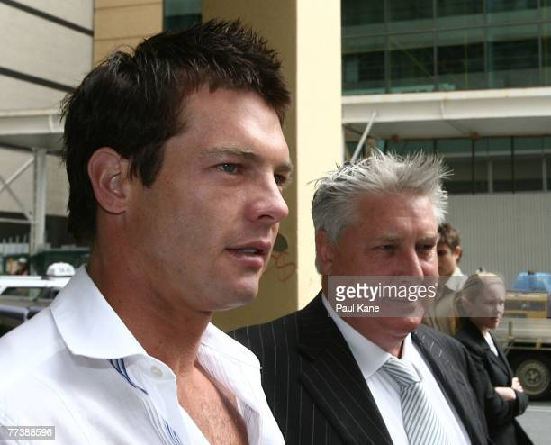 Former West Coast Eagles AFL player Ben Cousins and his lawyer Shane Brennan arrive at Perth Magistrates Court after facing drug possession charges...