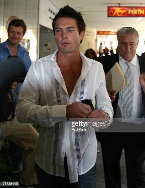 Former West Coast Eagles AFL player Ben Cousins arrives at Perth Magistrates Court after facing drug possession charges on October 18 2007 in Perth...