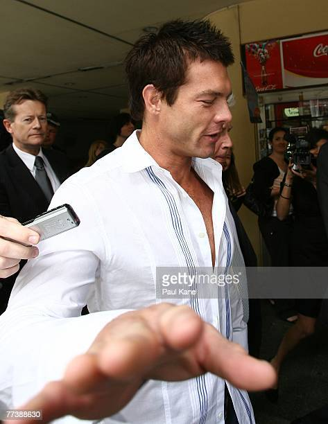 Former West Coast Eagles AFL player Ben Cousins leaves the Perth Magistrates Court after facing drug possession charges on October 18 2007 in Perth...