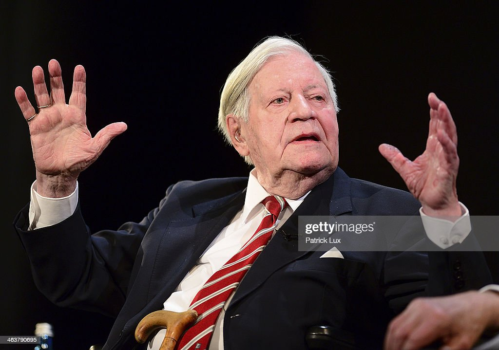 Former West German Chancellor Helmut Schmidt attends a celebration hosted by Die Zeit newspaper on the occasion of Schmidt's 95th birthday at the Thalia theater on January 19, 2014 in Hamburg, Germany. Schmidt, a Social Democrat (SPD), was Chancellor of West Germany from 1974 to 1982.
