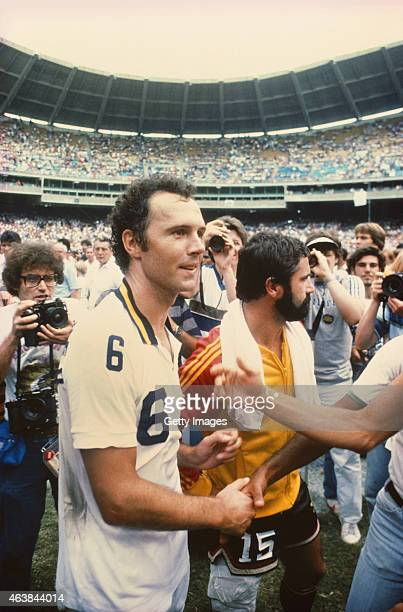 Former West Germany internationals, New York Cosmos player Franz Beckenbauer and Fort Lauderdale Strikers player Gerd M?ller pictured after the 1980...