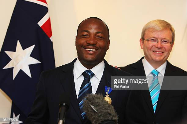 Former West Indies cricketer Brian Lara speaks after being presented with the insignia of the Order of Australia by Australian Prime Minister Kevin...