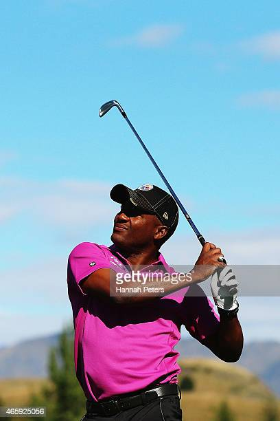 Former West Indies cricketer Brian Lara tees off during day one of the New Zealand Open at Millbrook Resort on March 12, 2015 in Queenstown, New...