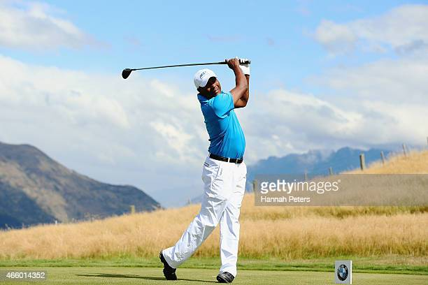 Former West Indies cricketer Brian Lara tees off during day two of the New Zealand Open at The Hills Golf Club on March 13, 2015 in Queenstown, New...