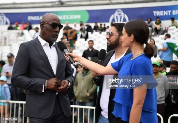 Former West Indies Cricketer Sir Vivian Richards is interviewed prior to the start during the Group Stage match of the ICC Cricket World Cup 2019...