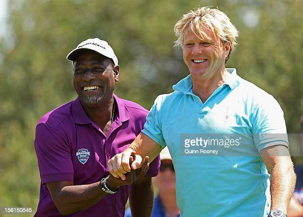Former West Indies cricketer Viv Richards and Dermott Brereton share a laughduring the Melbourne Golf Invitational ProAm at Woodlands Golf Club on...