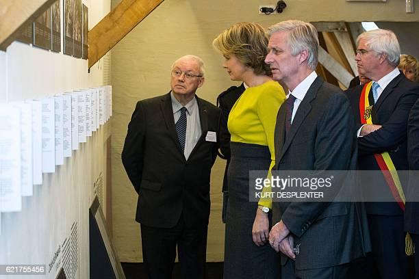 Former WestFlanders province governor Paul Breyne Queen Mathilde of Belgium King Philippe Filip of Belgium and WestFlanders province governor Carl...